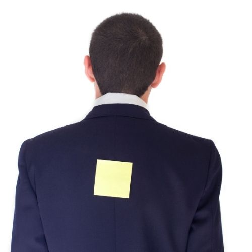 Image of person with note on his back for Matched Pairs team building game.
