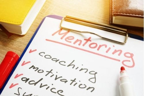 Image of a list of mentoring skills. Coaching, Motivation, Advice, Support.