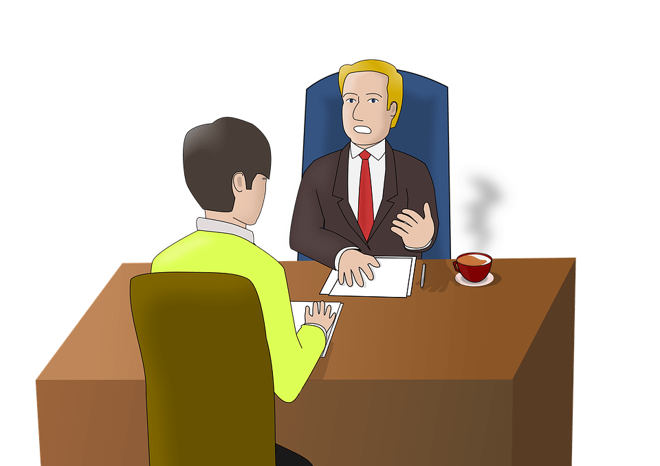 Image of a boss, leader, supervisor, manager interviewing a person.