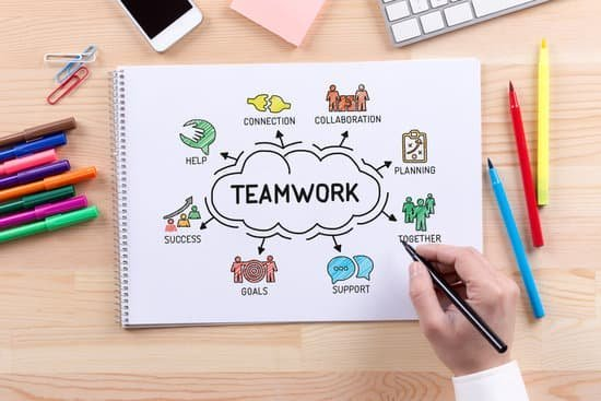Image of person writing words teamwork, connection, collaboration, planning, together, goals, success, and help.