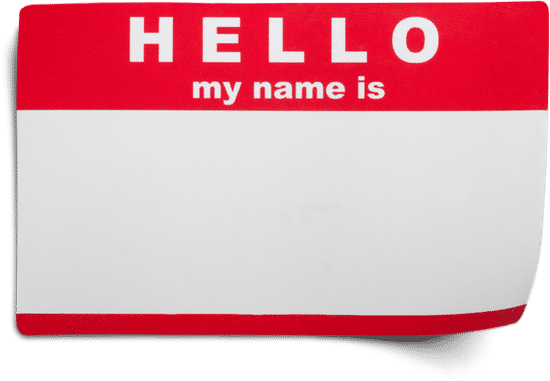Image of a sticker that says hello my name is for name game team building activity.