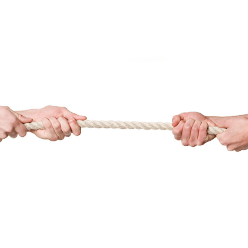 Image of a tug of war representing the leverage negotiation skills.