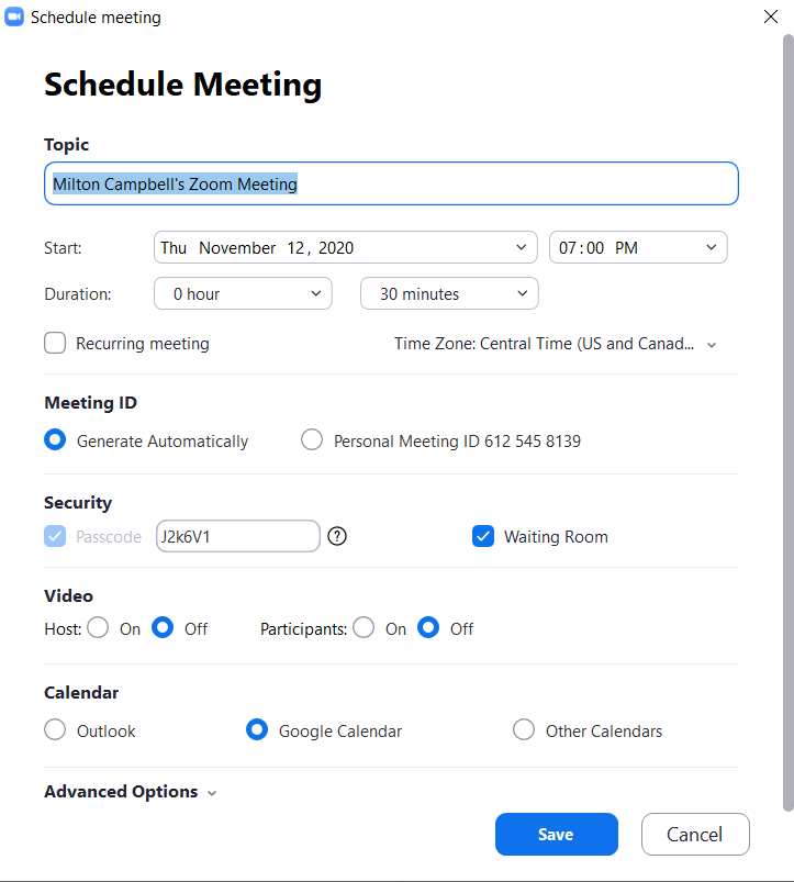 Image of Zoom meeting schedule page.