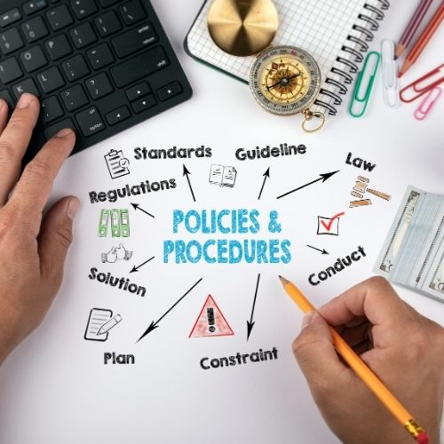Image of office space with the text policies & procedures for managing and improving processes.