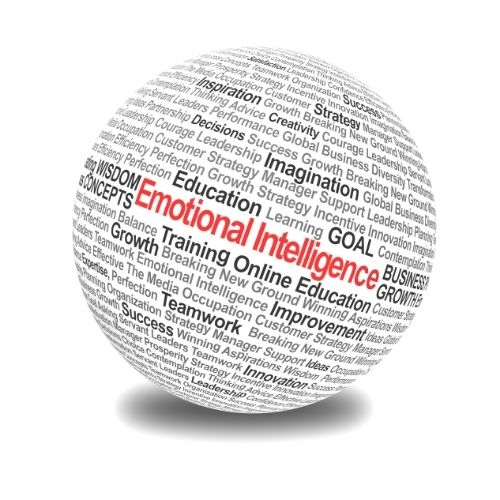 Image of a globe with words describing strong emotional intelligence.