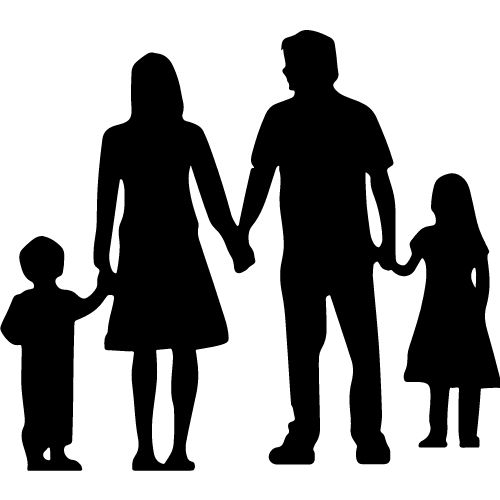 Silhouette of a family. A reason to break bad habits.