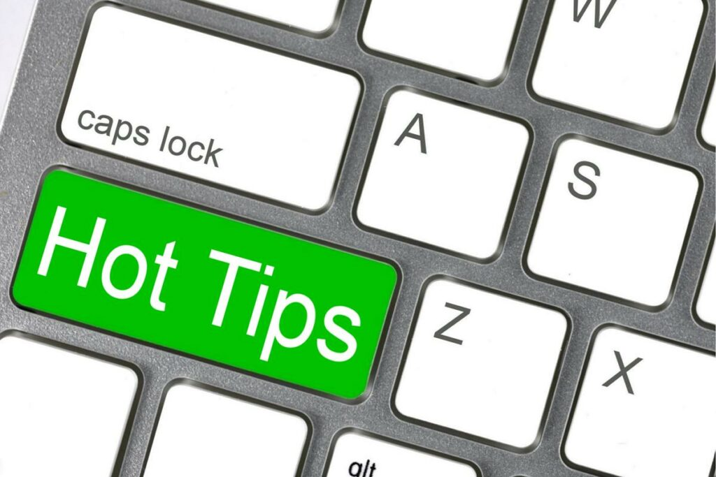 Image of a keyboard with hot tips on it.