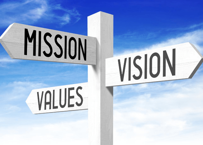 Image of a sign that says mission vision and values.
