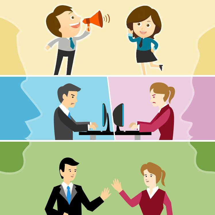 Image of various employees communicating for conflict resolution and avoidance.