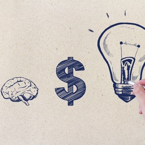 Image of brain, dollar sign, and light bulb for make better decisions finance section.