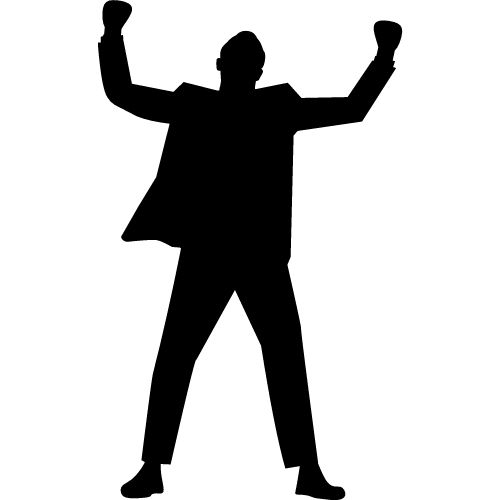 An image of a man with his fists in the air for charismatic leadership.