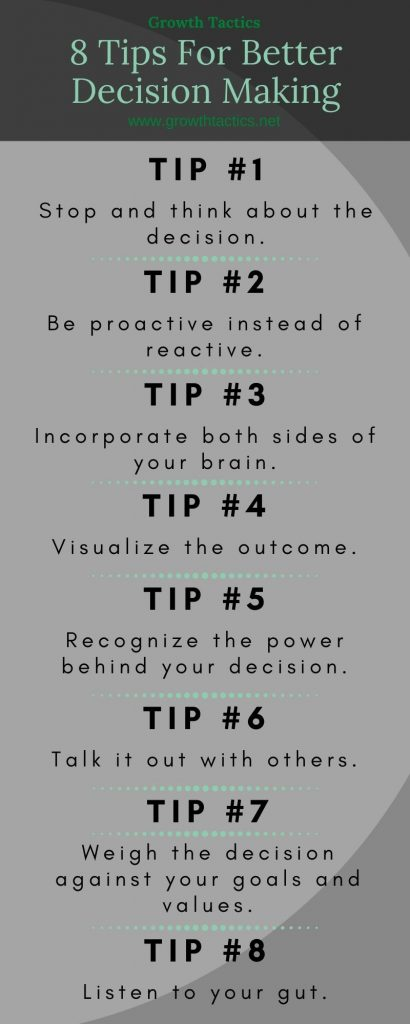 8 Tips For Better Decision Making Infographic